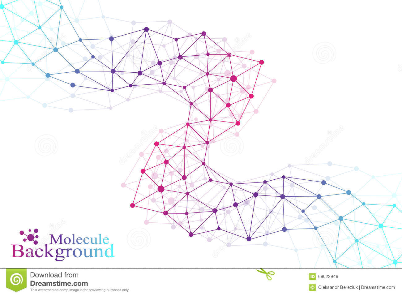 Colorful graphic background molecule and communication. Connected lines with dots. Medicine, science, technology design