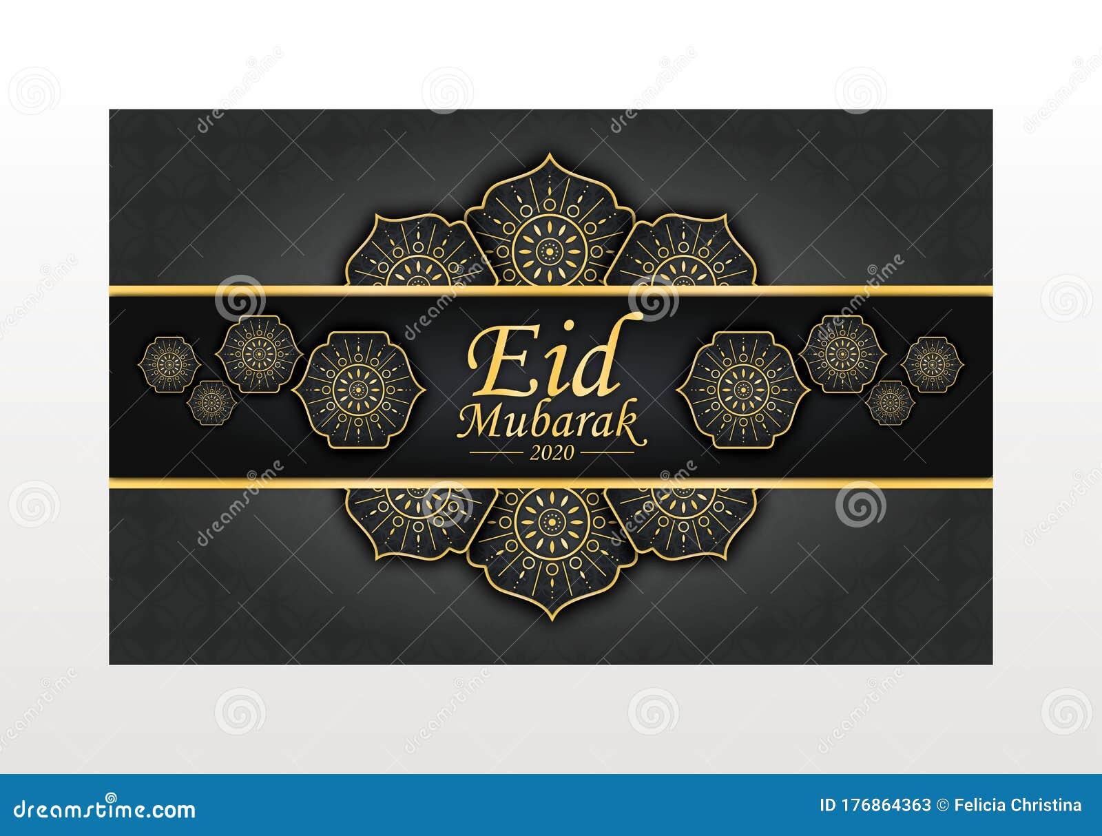 eid mubarak 2020 coloful elegant greeting card stock