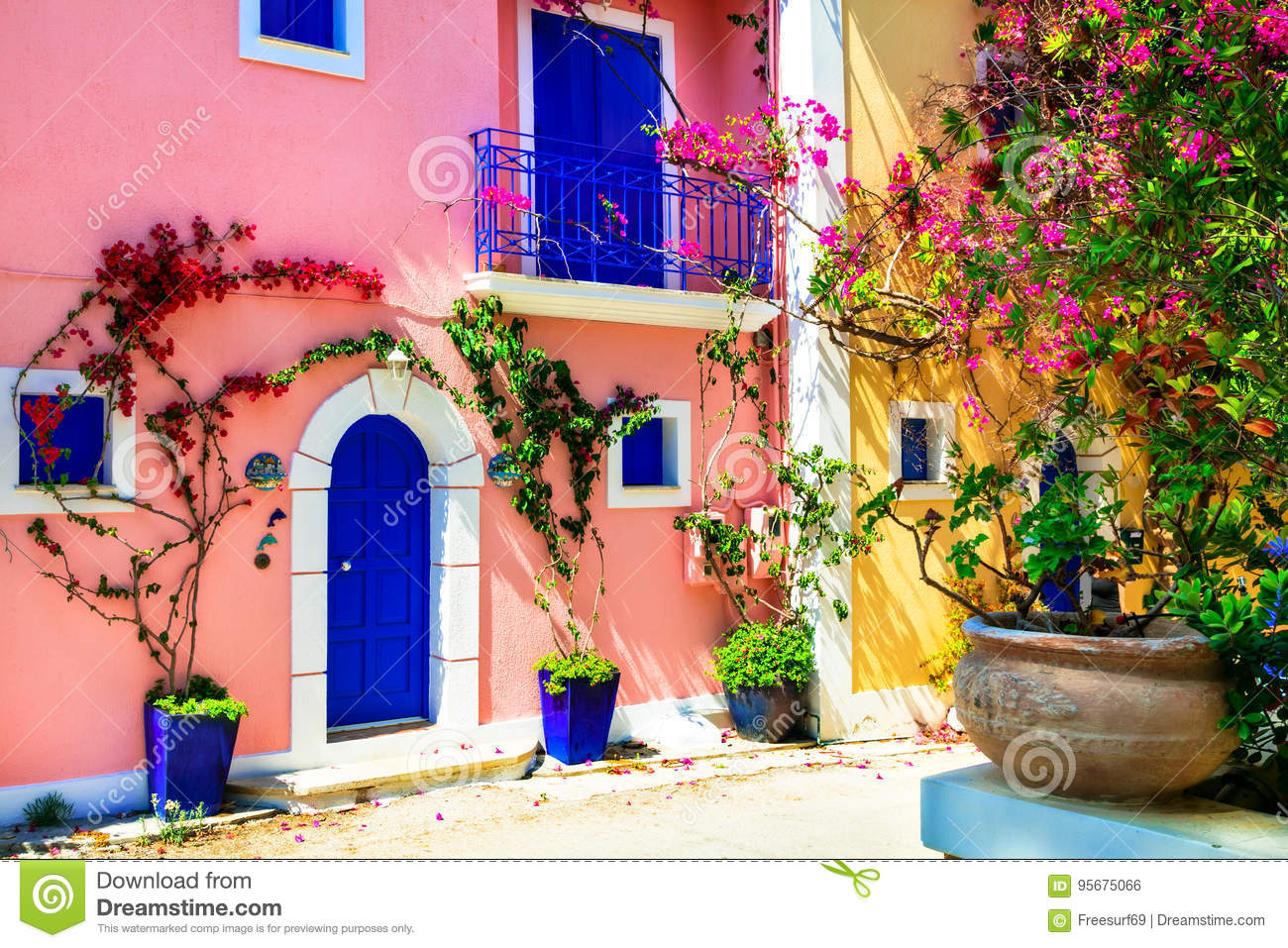 Colorful Greece series - charming streets of Assos village in Kefalonica