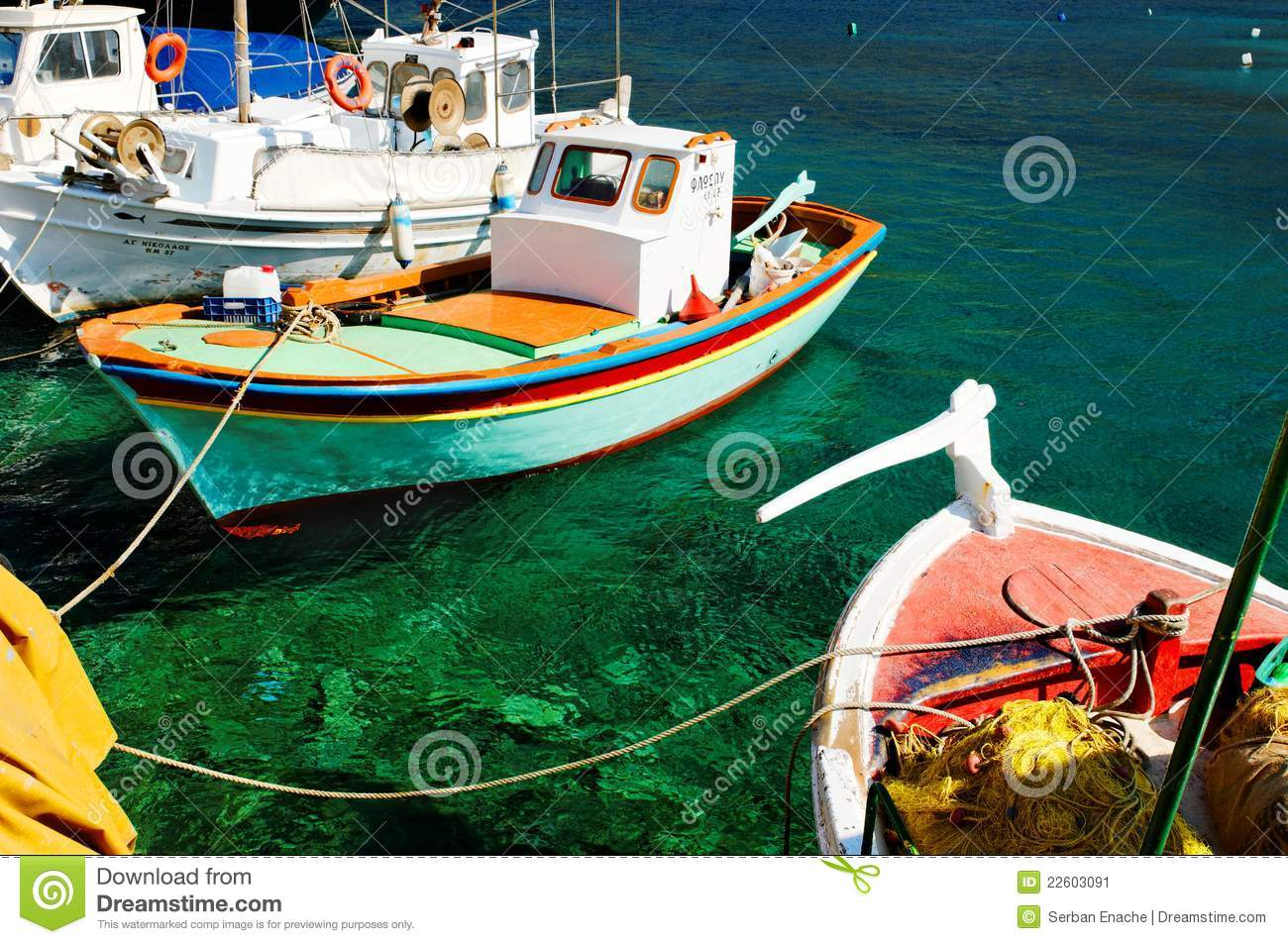 Download Colorful Greek Fishing Boats Stock Image - Image of ocean, harbor: 22603091