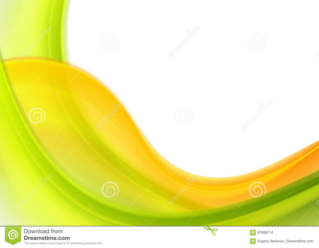 Colorful Green Orange Abstract Blurred Waves Stock Vector