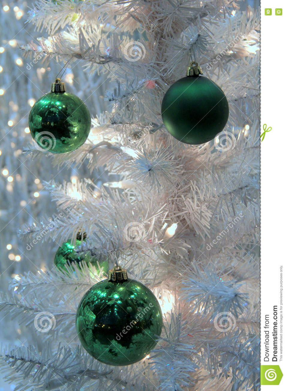 download colorful green ornaments and blinking lights on white christmas tree stock image image of