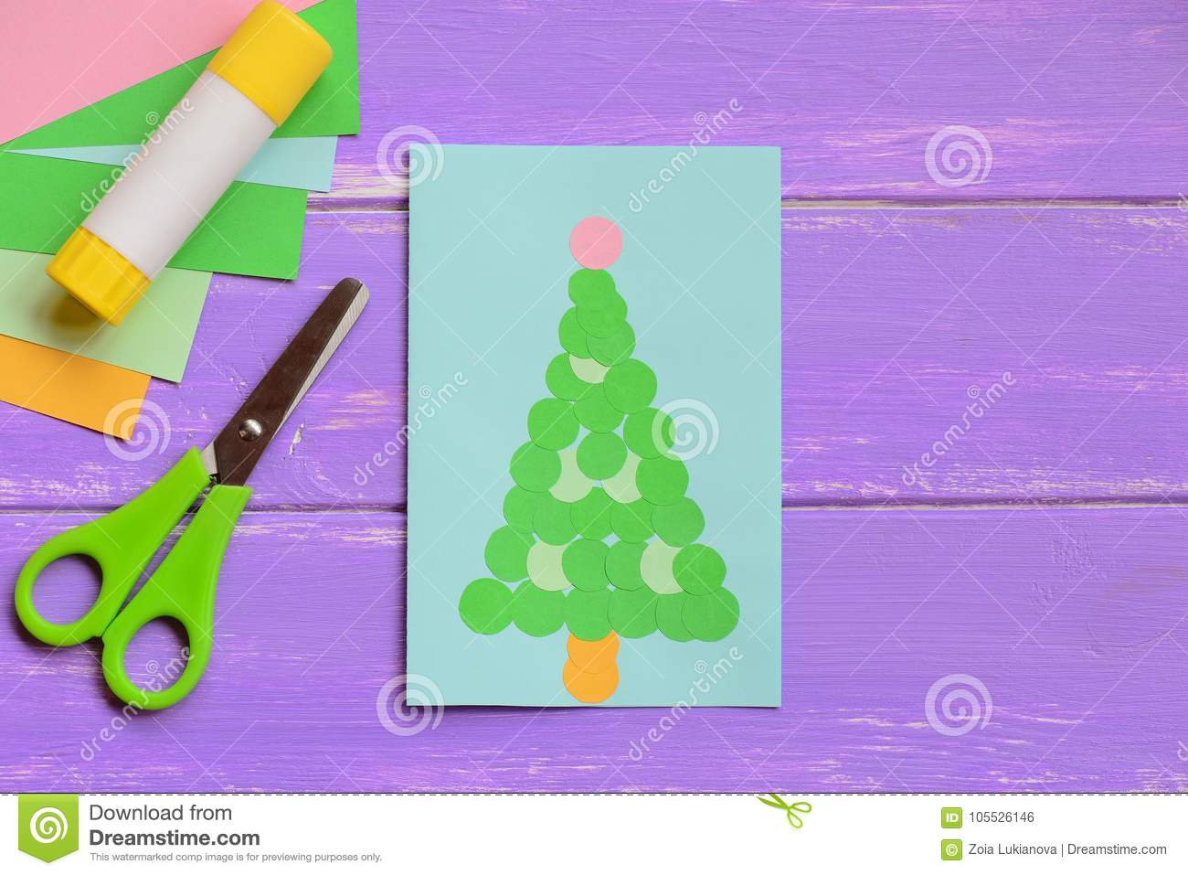 Colorful Greeting Card With Christmas Tree Beautiful Christmas