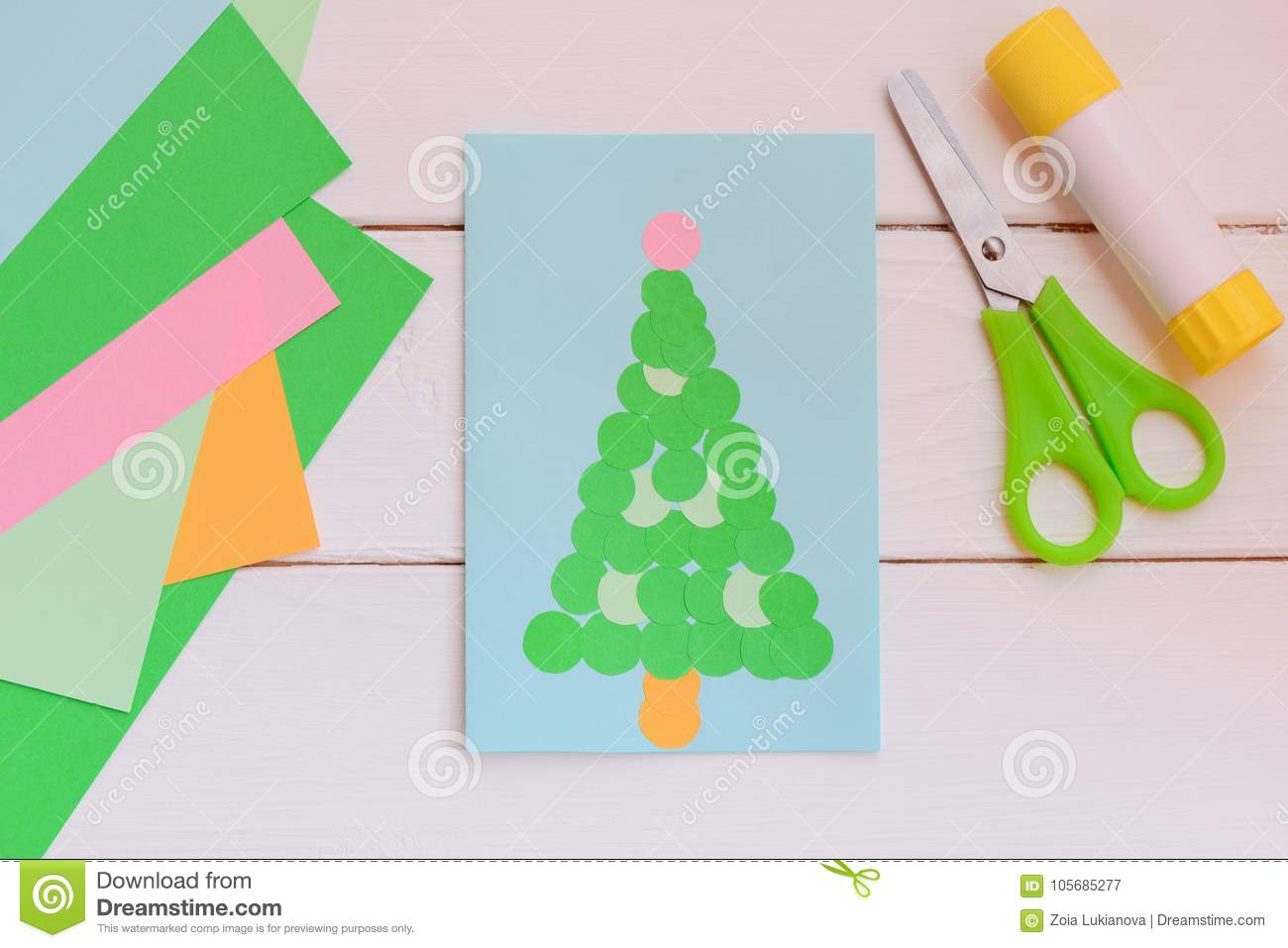 Paper Greeting Card With Christmas Tree Colored Paper Sheets