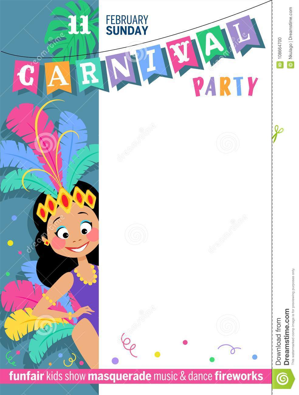 Colorful Greeting Poster For Carnival Party With Cute Brazilian Girl