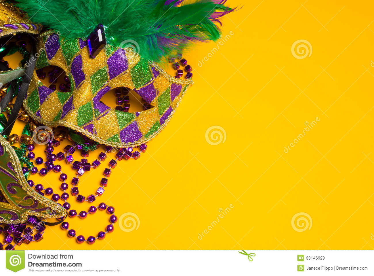 Colorful group of Mardi Gras or venetian mask or costumes on a y