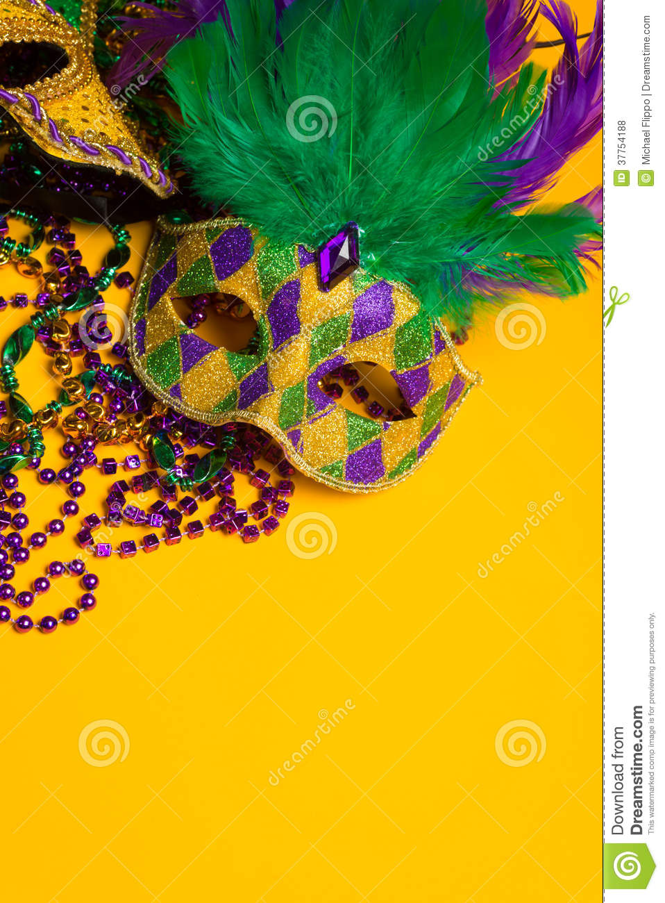Colorful group of Mardi Gras or venetian masks