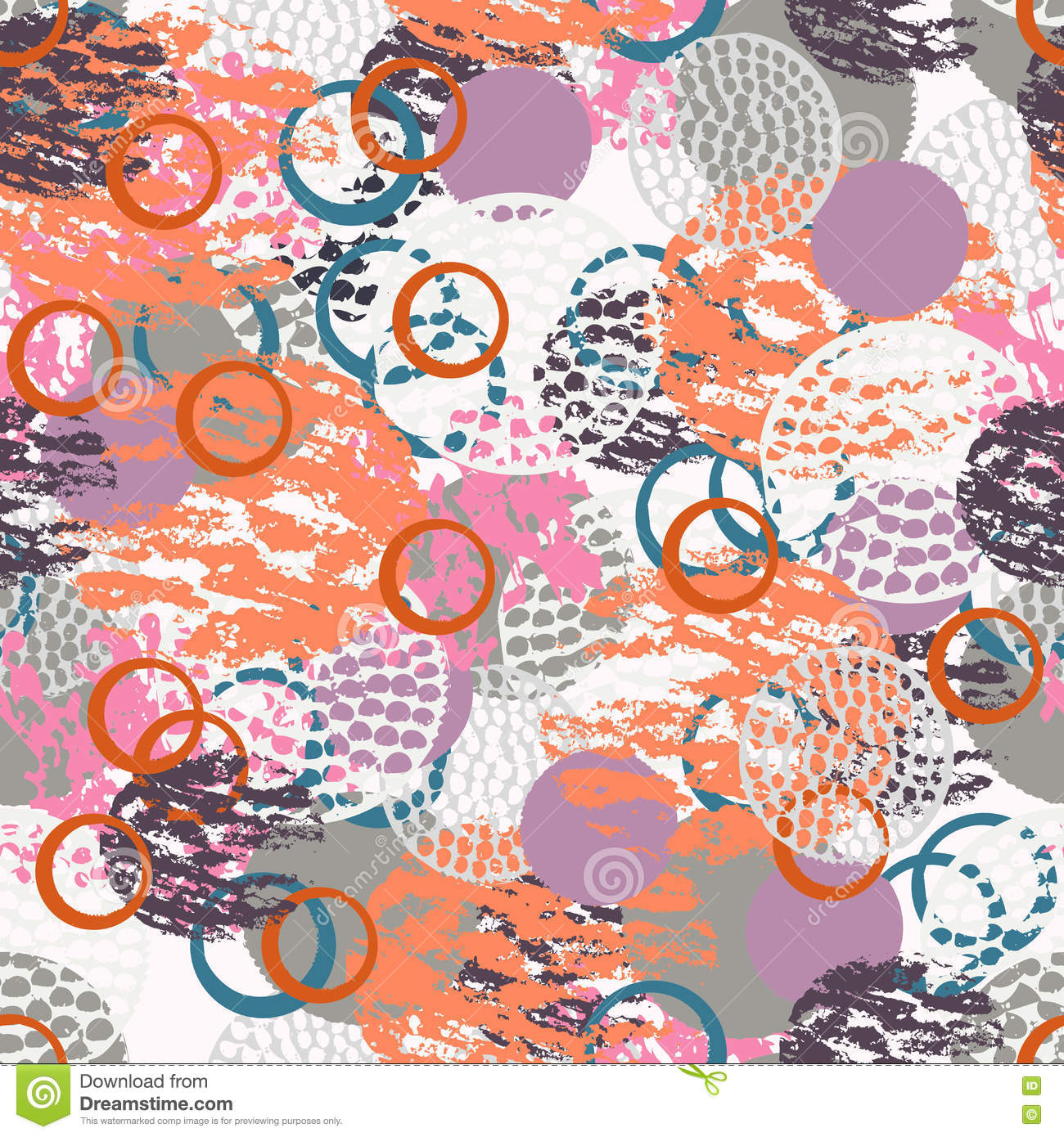 Colorful grunge abstract seamless pattern with different shabby round shapes.