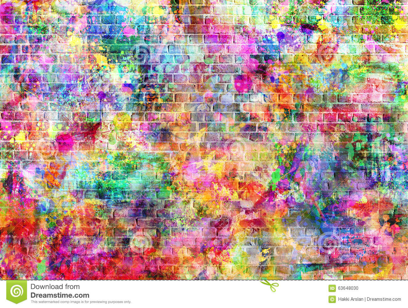 Colorful grunge art wall illustration urban art wallpaper Colorful wall decor