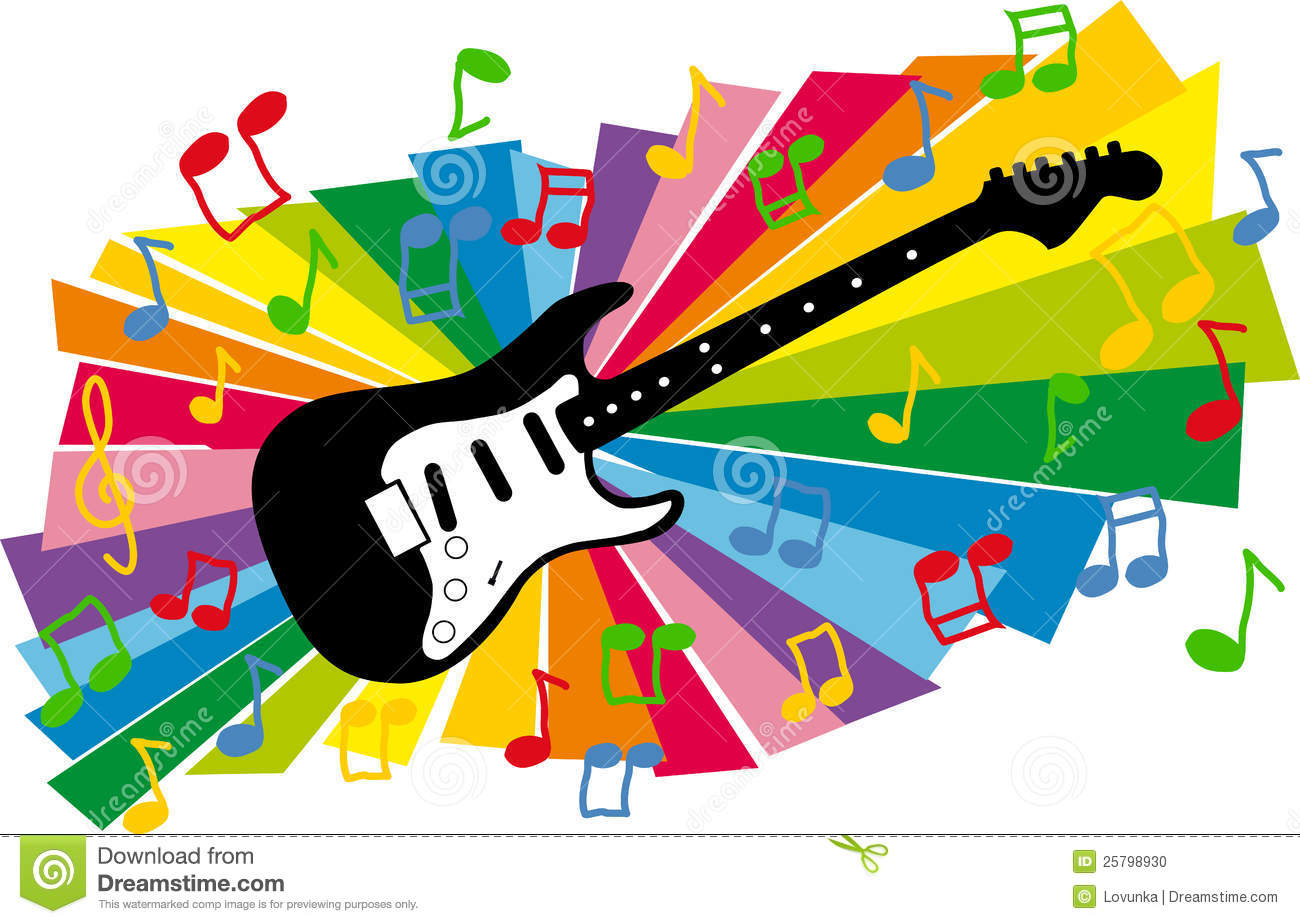 Stylized Colorful Illustration Electric Guitar And Flying Notes On