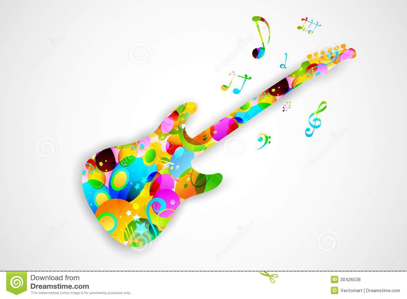 Colorful Guitar Stock Vector Illustration Of Decorative 30426538