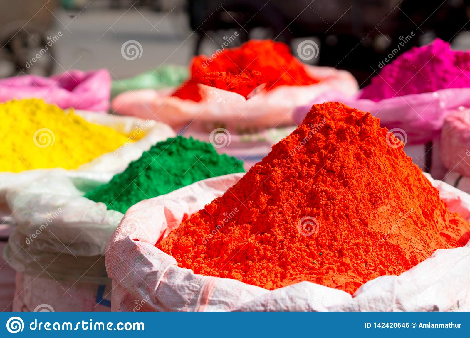 Colorful Gulal Powder In Gunny Bags Ready For Sale On Hindu Indian ...