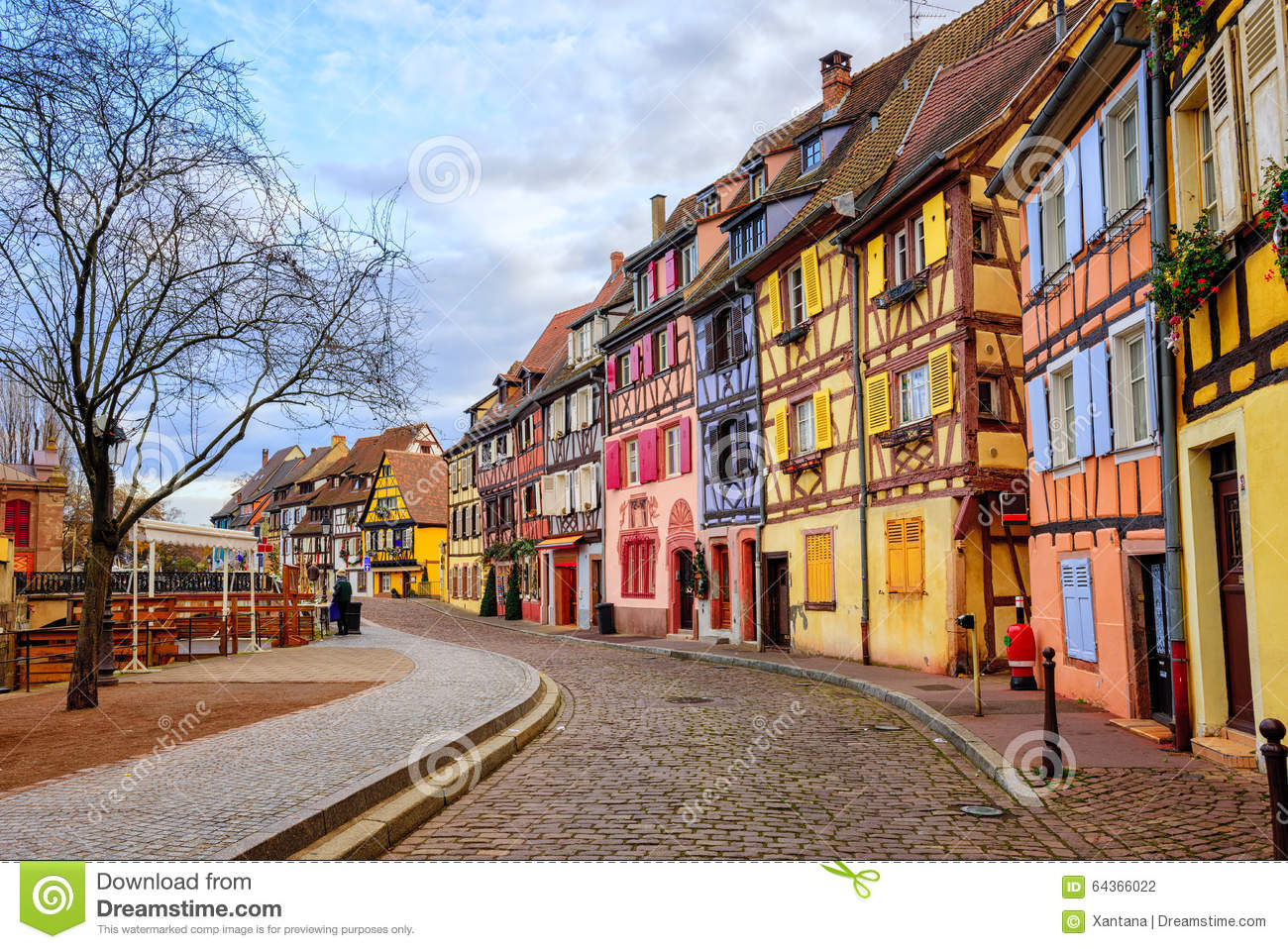 Colorful Half Timbered Houses In Medieval Town Colmar Alsace F Stock Photo Image 64366022