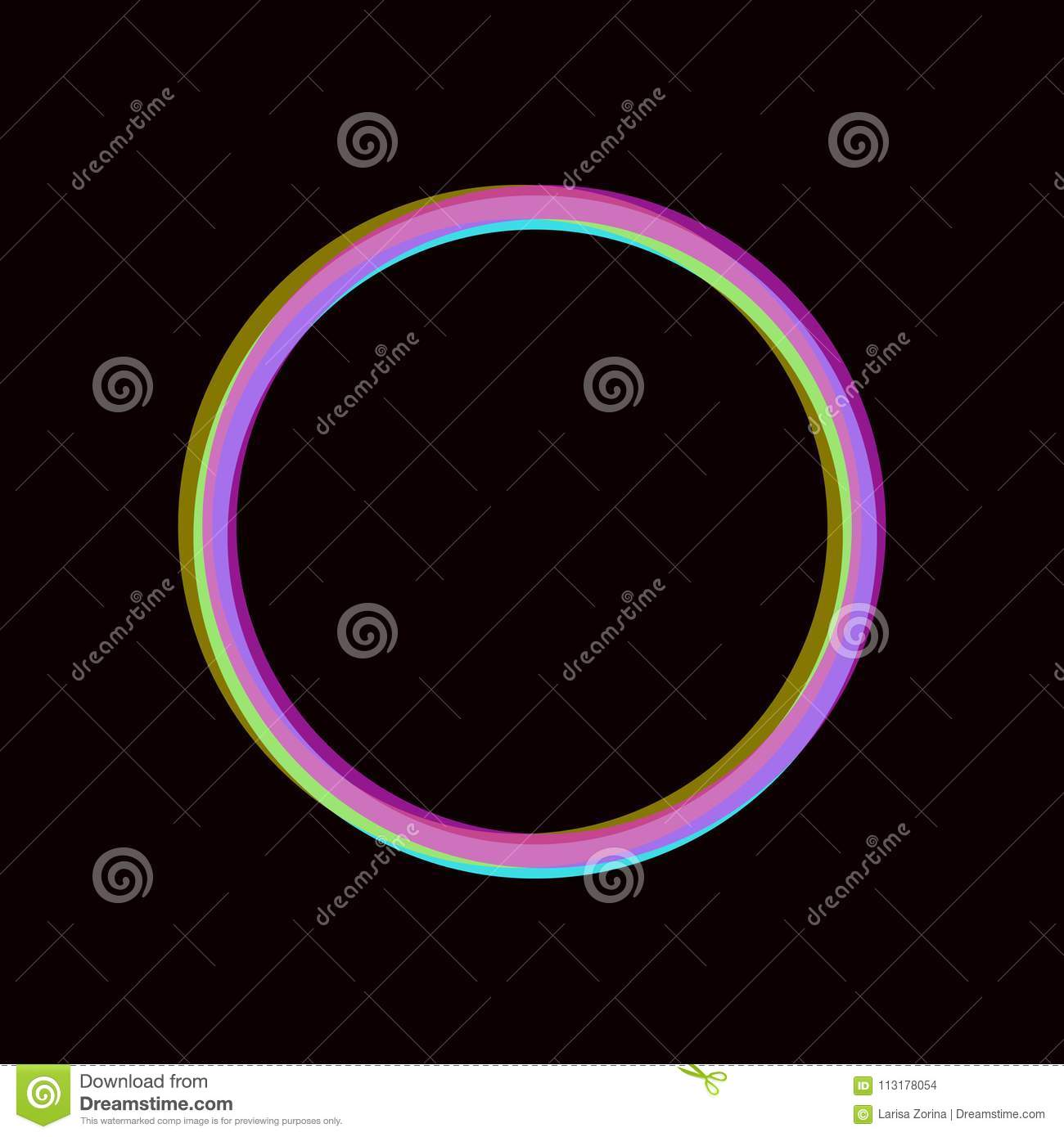 Download Colorful Halftone Circle Frame On Black. Neon Stereo Effect  Background. Vector Round Template