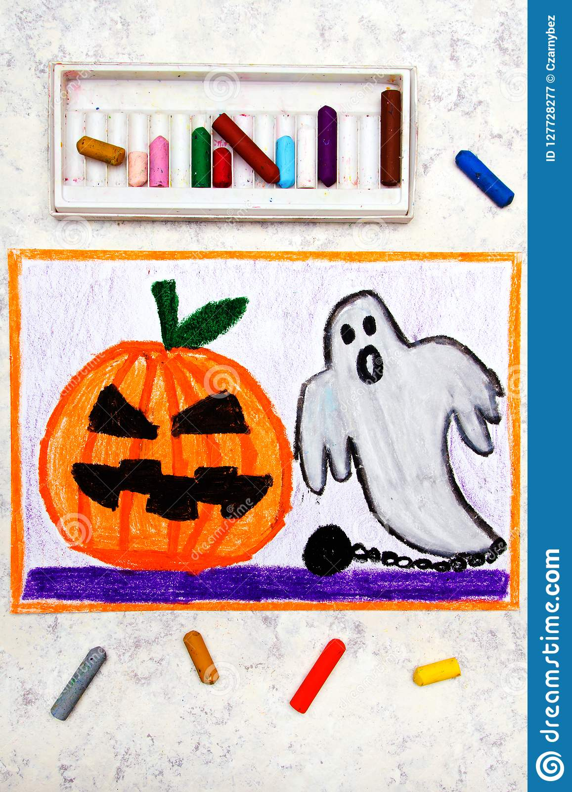 Colorful hand drawing: Cute Hallowen Pumpkin and Scary Ghost