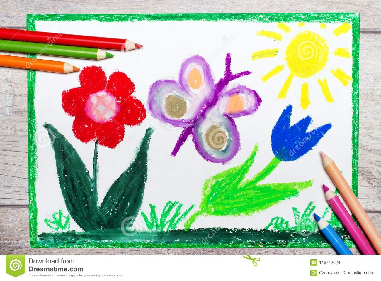 Hand drawing: Springtime, butterfly and cute flowers.