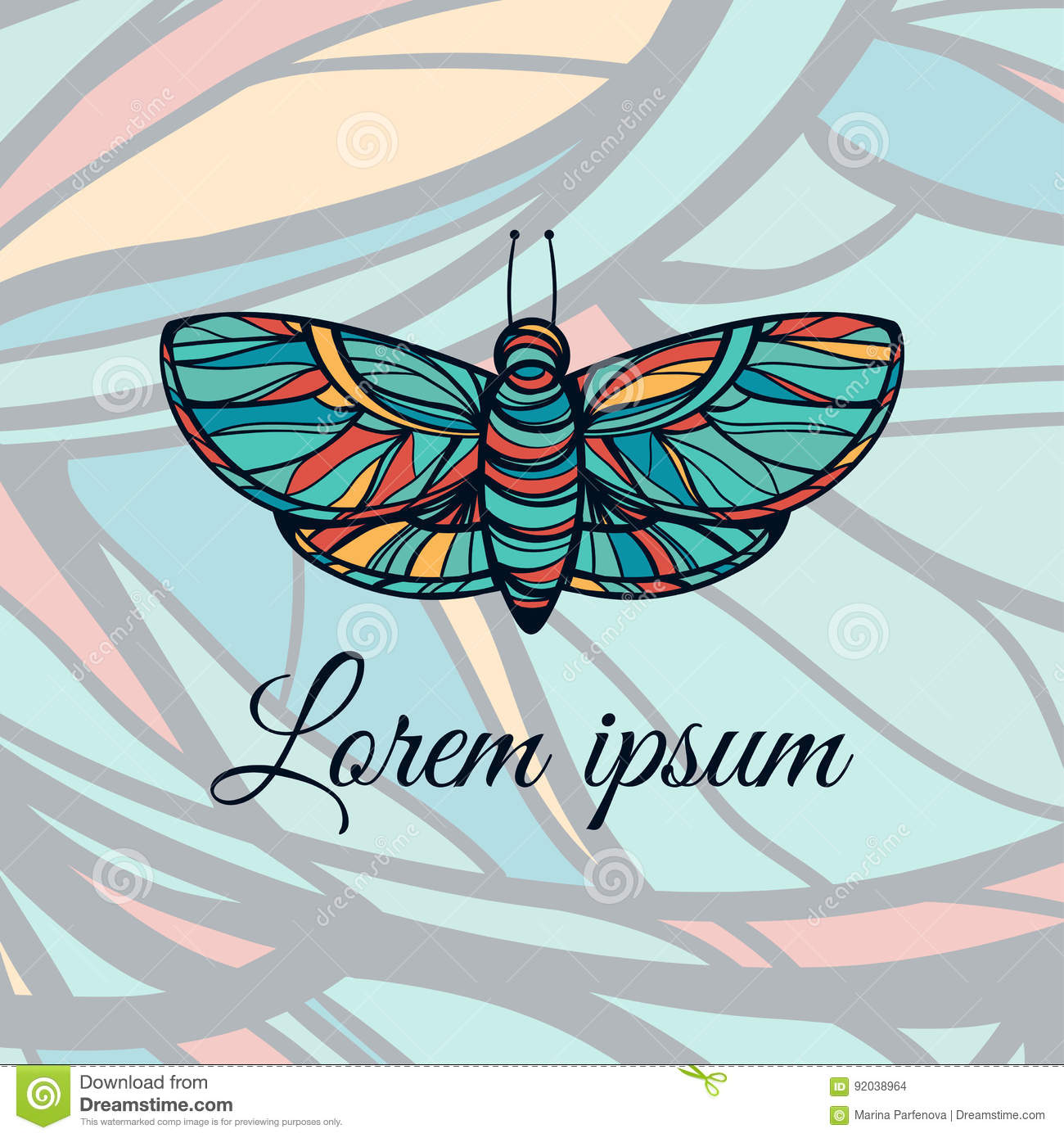 Colorful Hand Drawn Butterfly. Doodle Style Logo. Vector