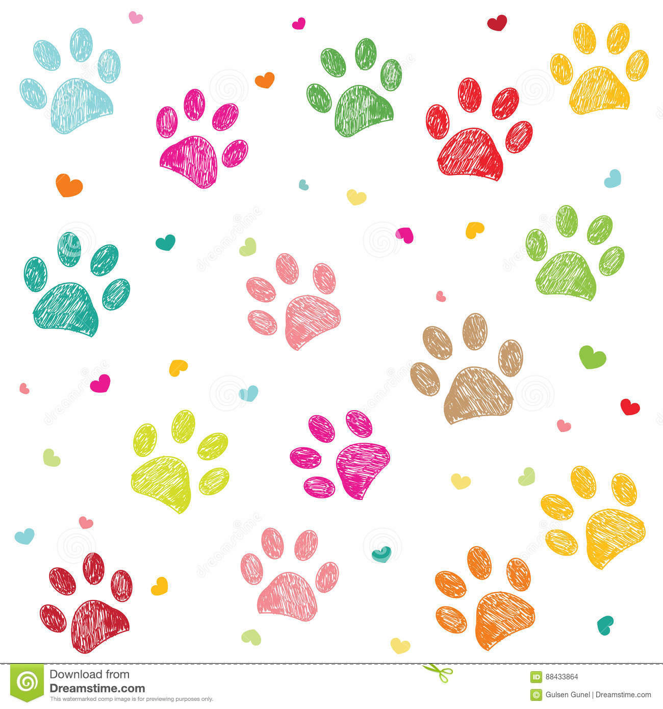 Colorful hand drawn doodle paw print with hearts vector