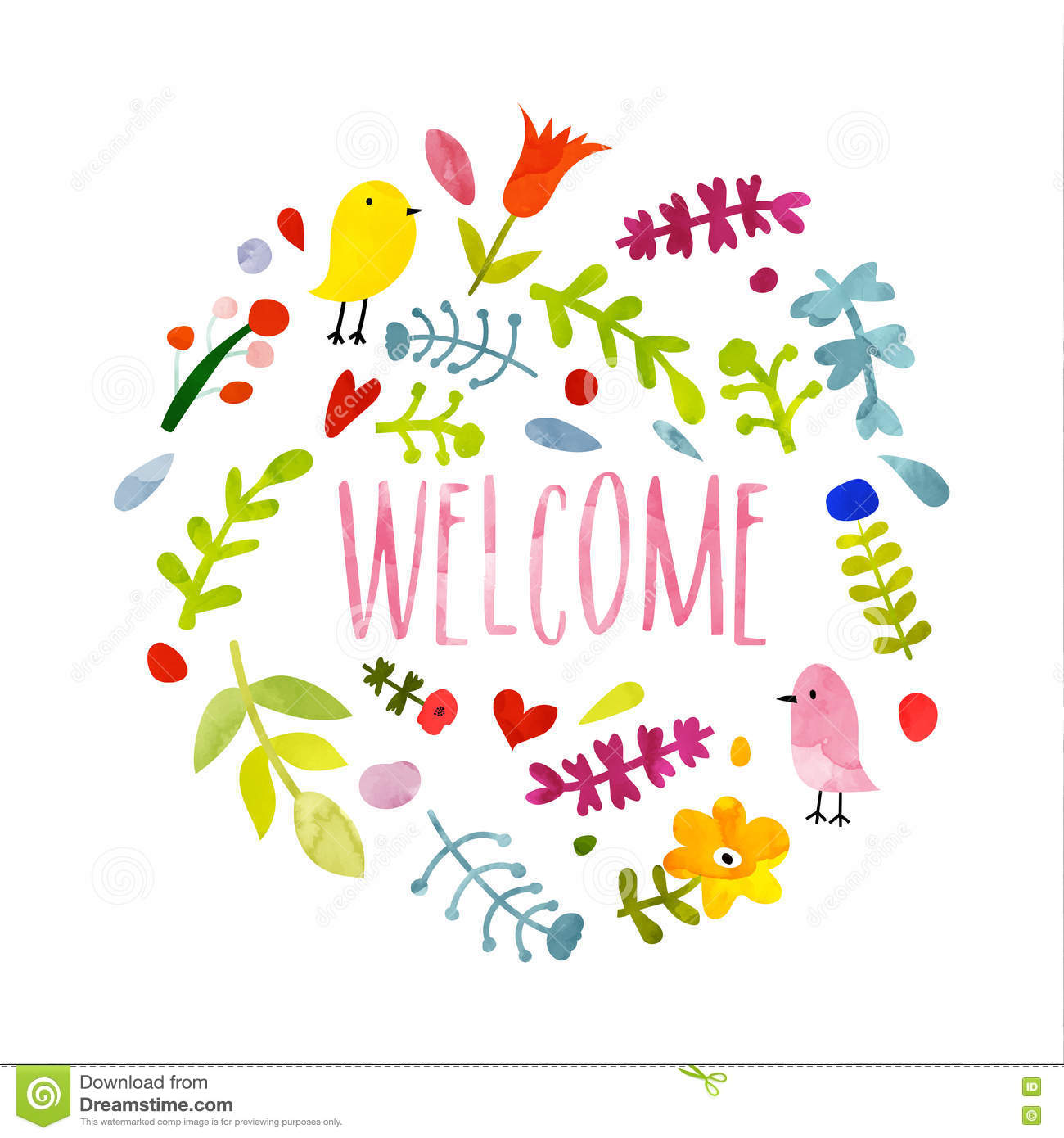 colorful hand drawn doodle welcome card stock