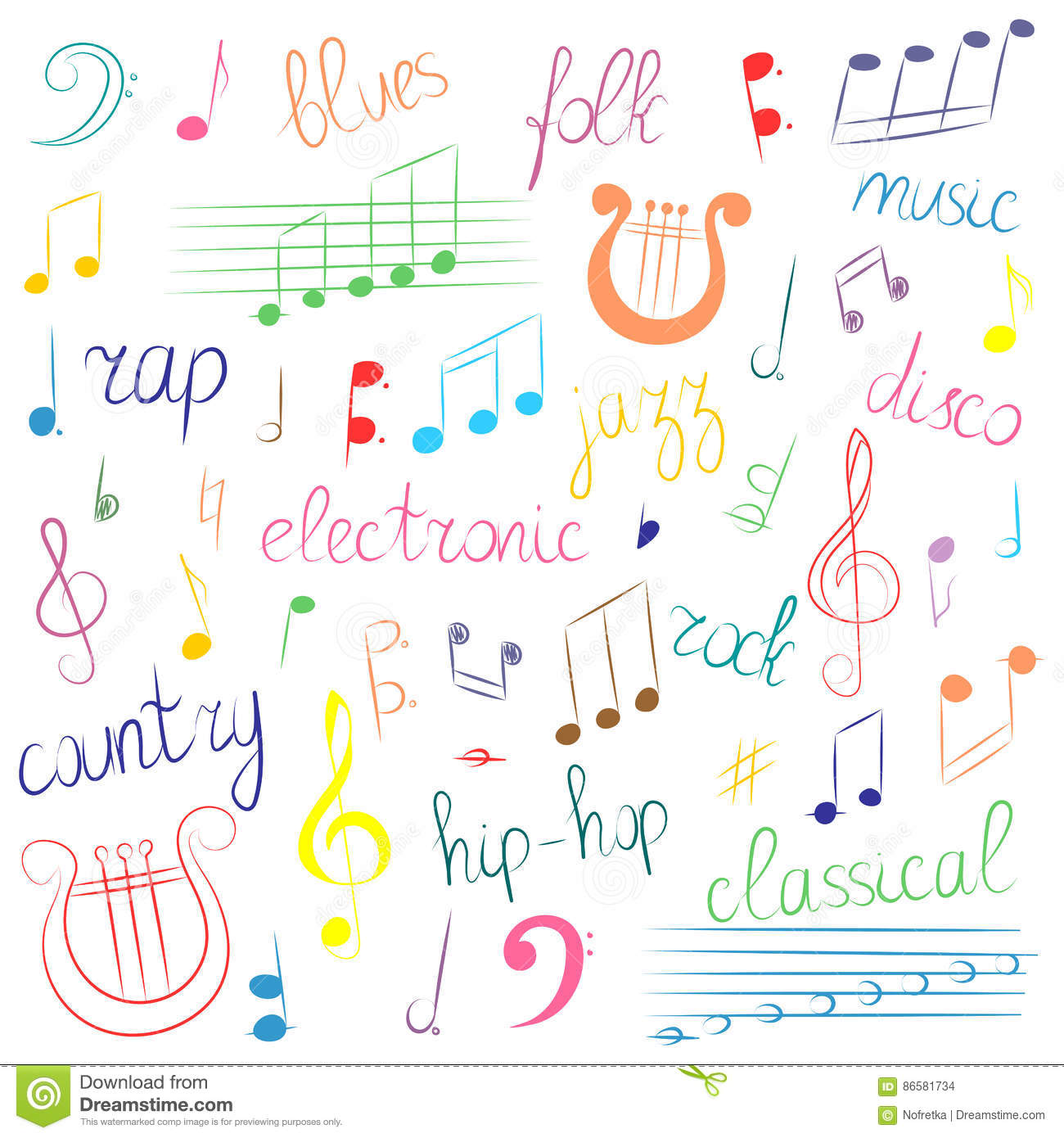 Colorful Hand Drawn Set Of Music Symbols And Styles Doodle Treble