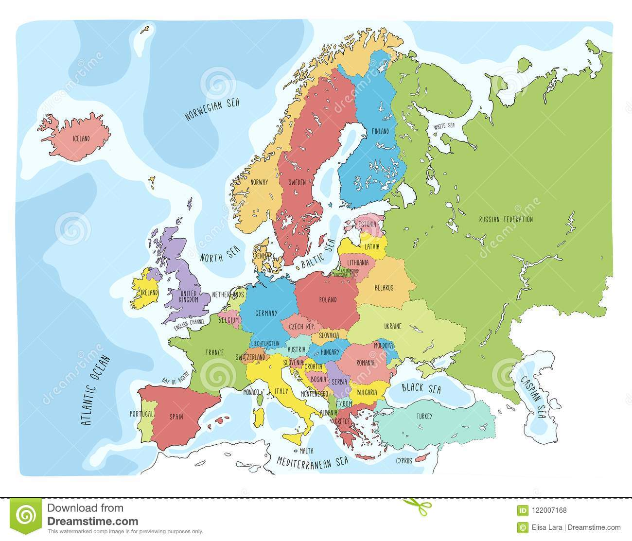 Colorful Hand Drawn Vector Map Of Europe Stock Vector - Illustration ...