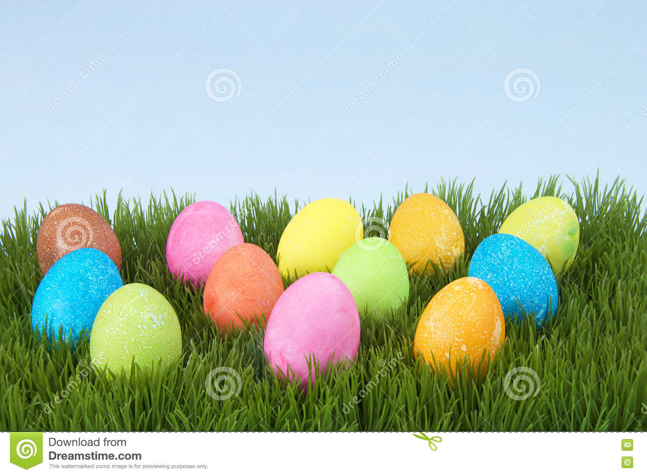 Colorful Hand Painted Decorated Easter Eggs In Grass Stock ...