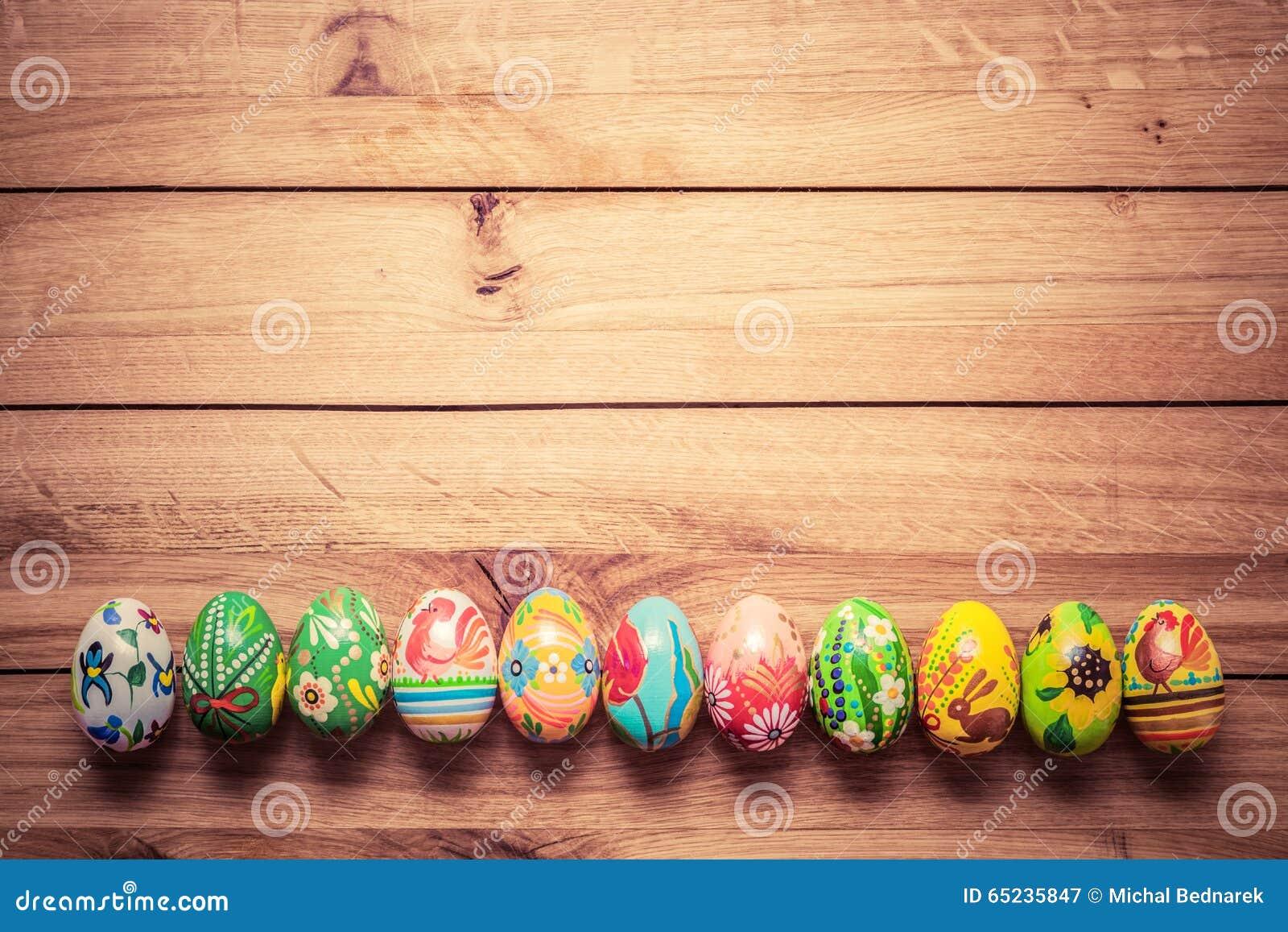 Vintage Hand Painted Wood Easter Eggs