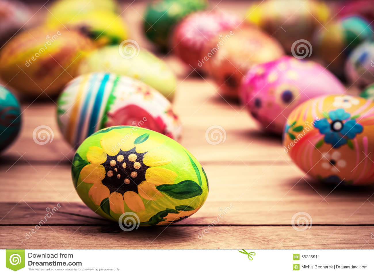 Colorful hand painted Easter eggs on wood. Unique handmade, vintage design.