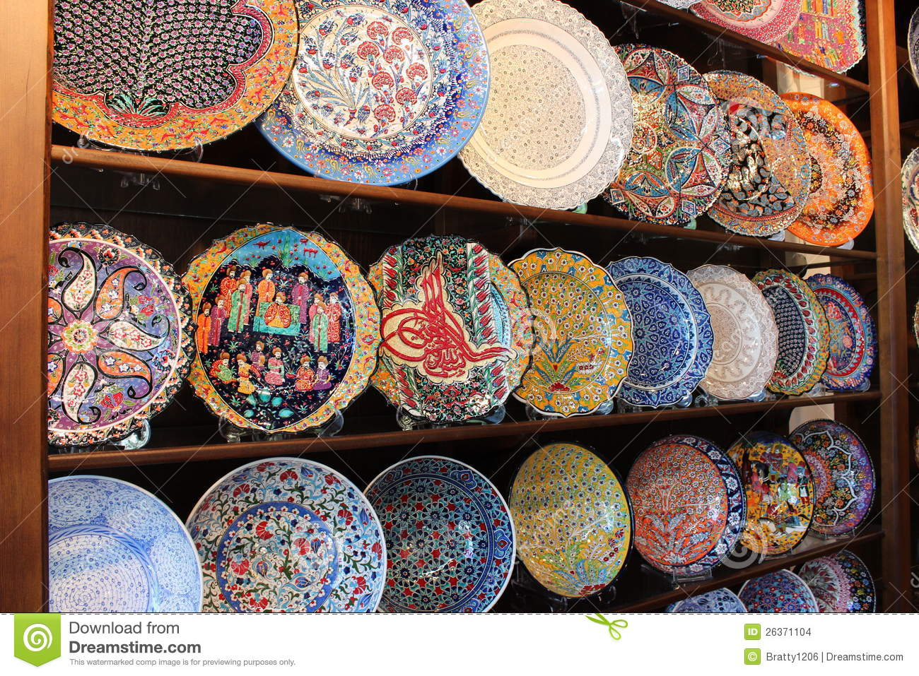 Colorful hand painted plates & Colorful Hand Painted Plates Stock Photo - Image of racks creative ...