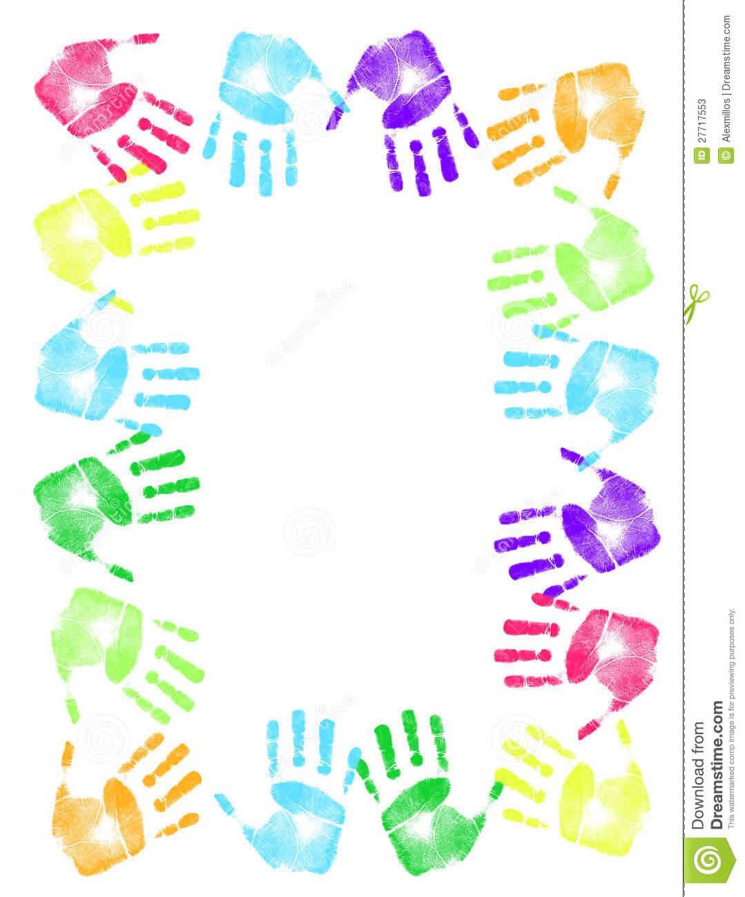 Colorful hand print frame stock illustration. Illustration of green ...