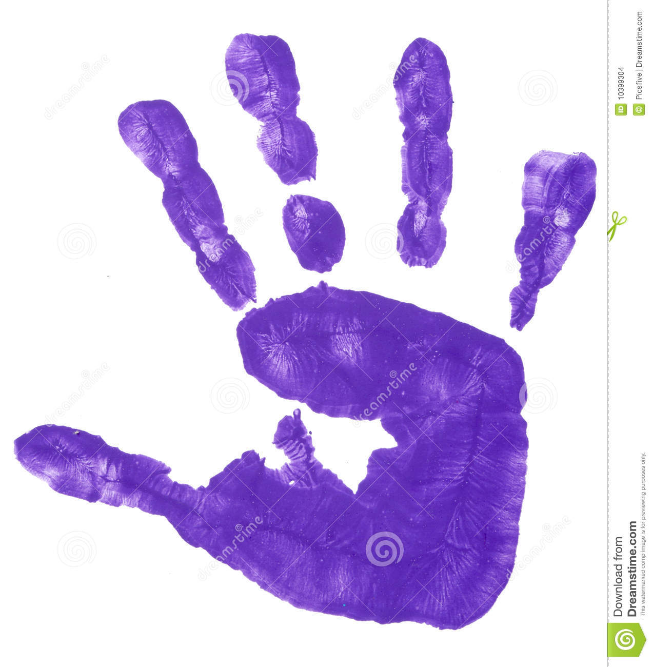 Close up of colorful child hand prints on white background.