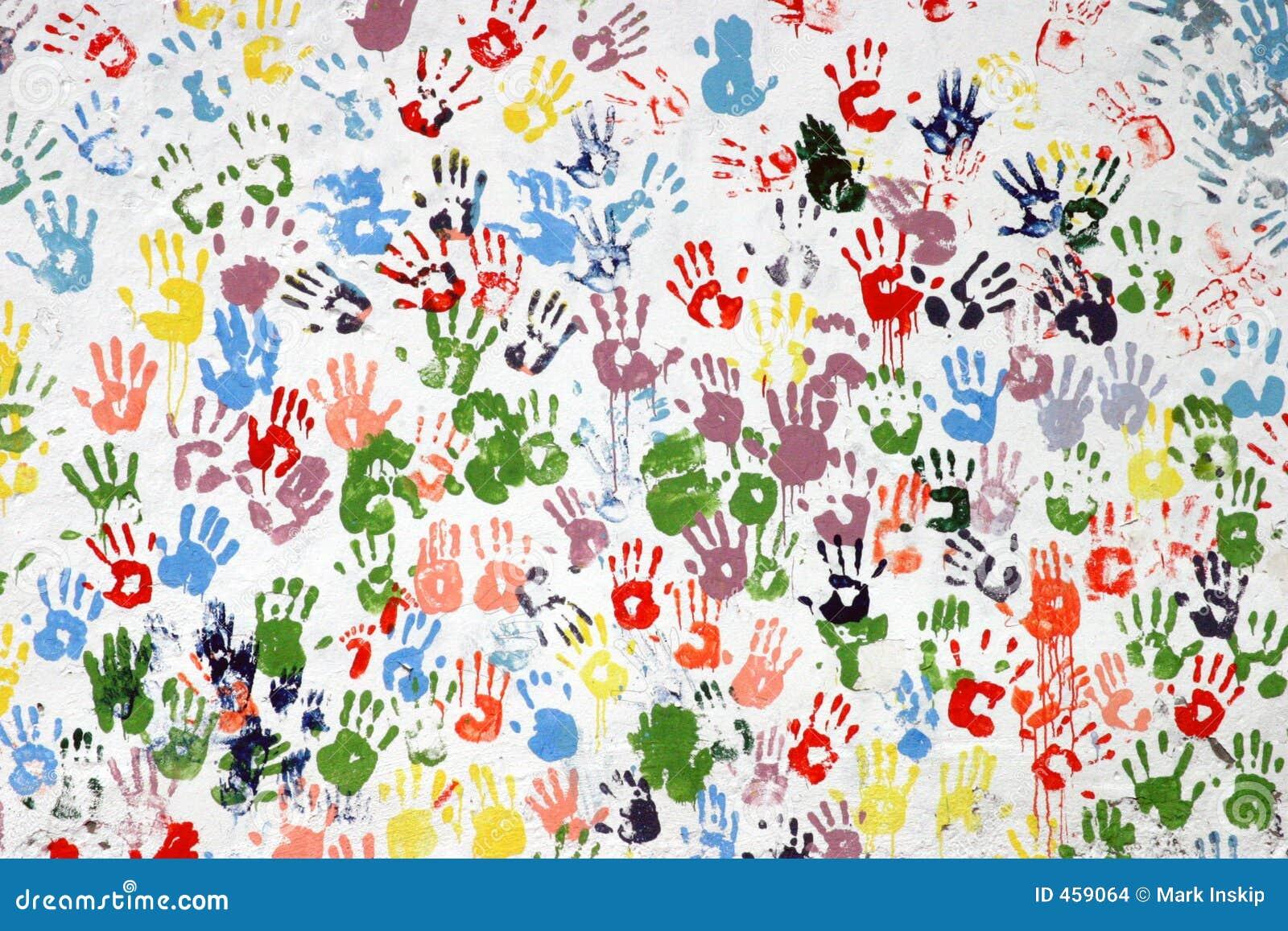 Colorful hand-prints