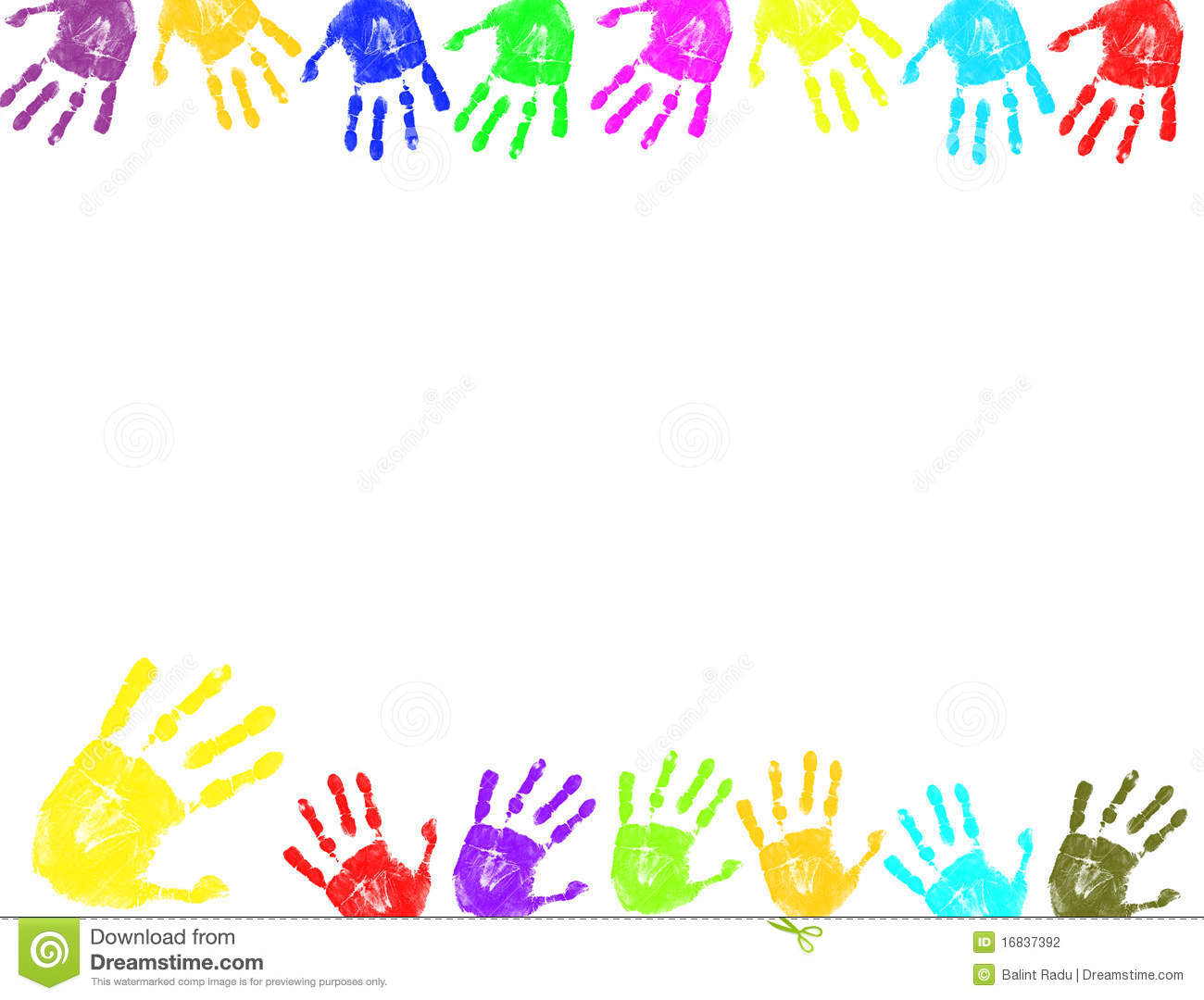 Colorful hand prints frame stock vector. Illustration of wallpaper ...