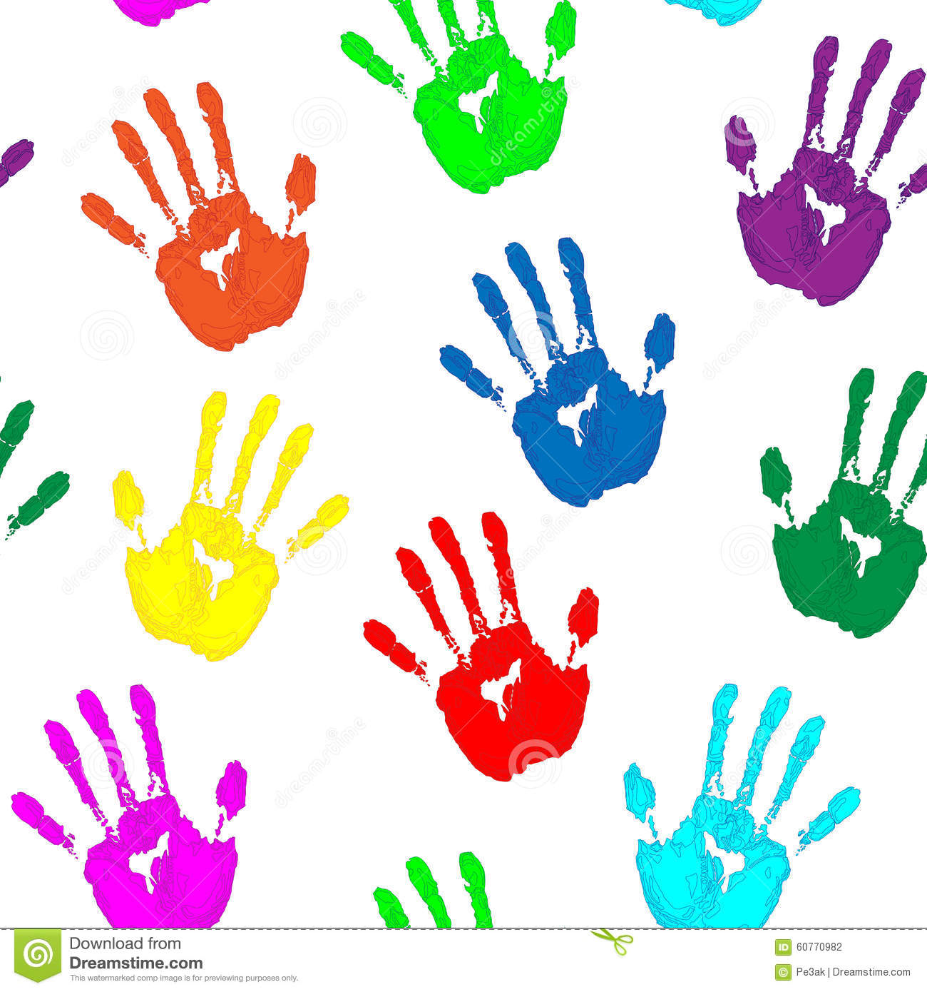 Colorful Hand Prints On White Background Stock ...