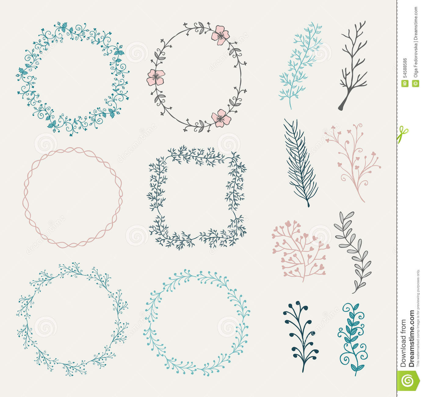 Colorful Hand Sketched Frames Borders Design Stock Vector