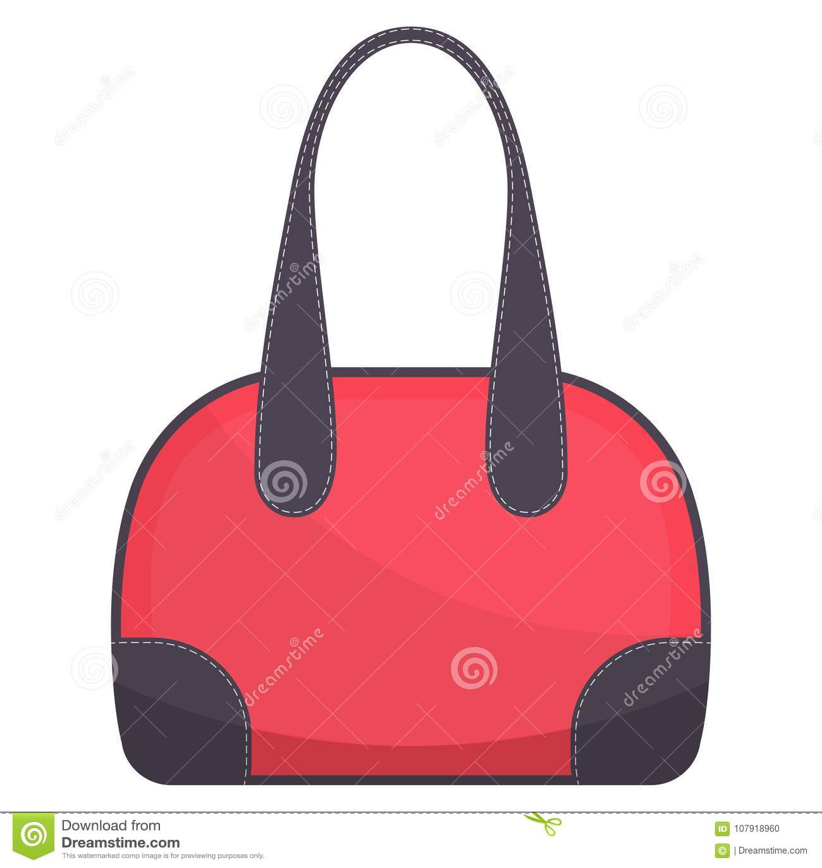 94222008ef Colorful handbag with white stitching. Woman bag. Ladies handbag isolated  on white background. Vector illustration.