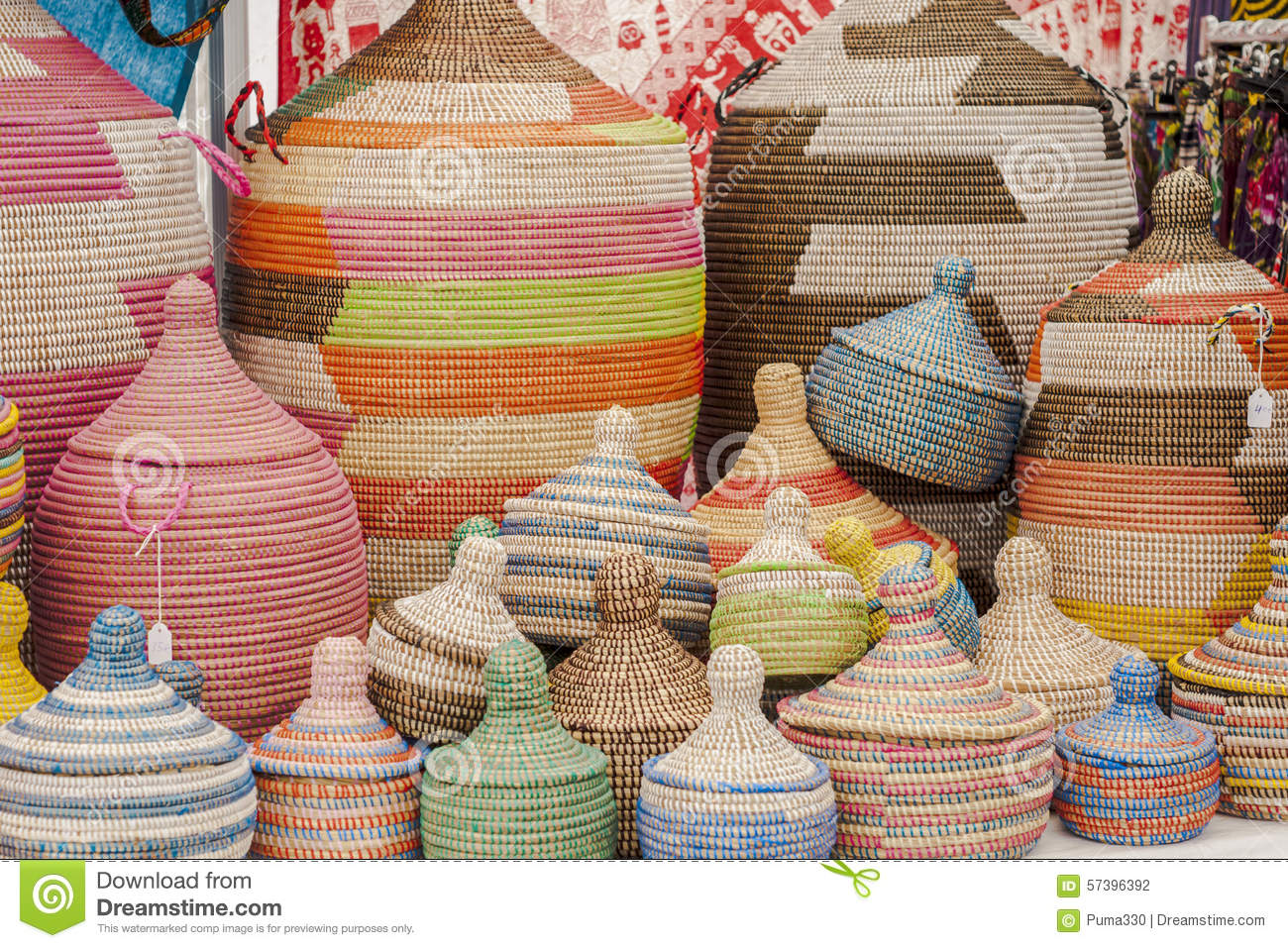 Handmade Baskets From Africa : Colorful handmade african baskets stock photo image