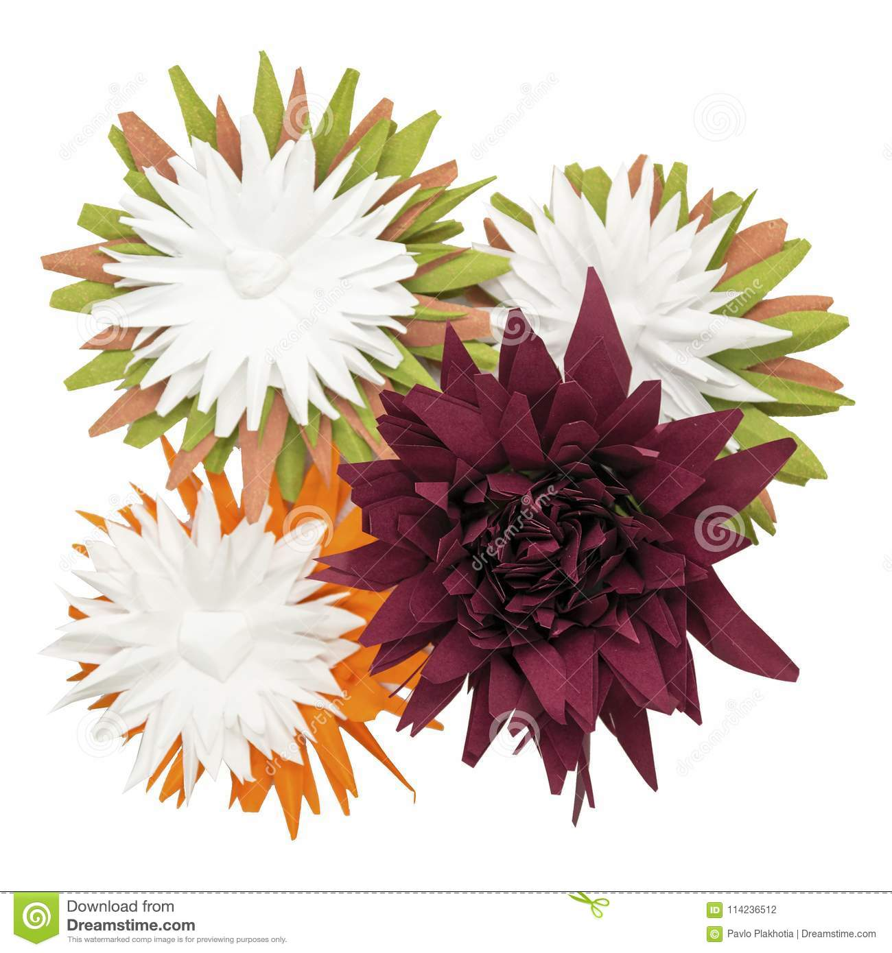 Colorful Handmade Paper Flowers On White Background Creative Craft