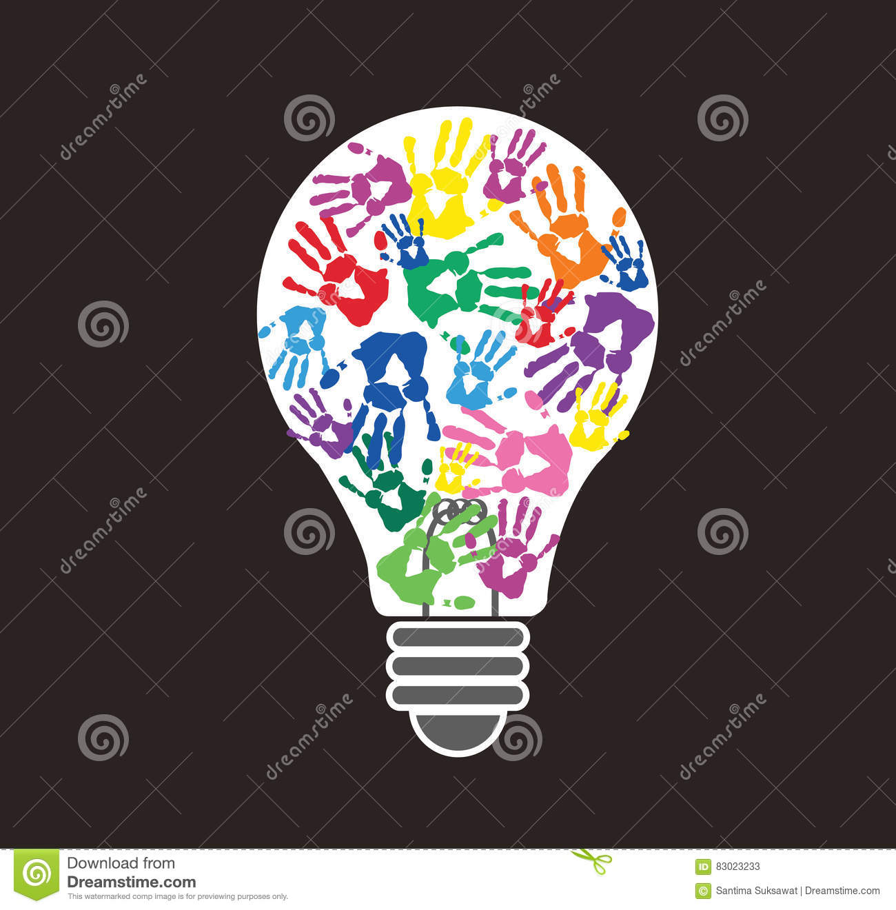 Colorful Handprint In Lightbulb Shape Symbol Of Thinking Concept