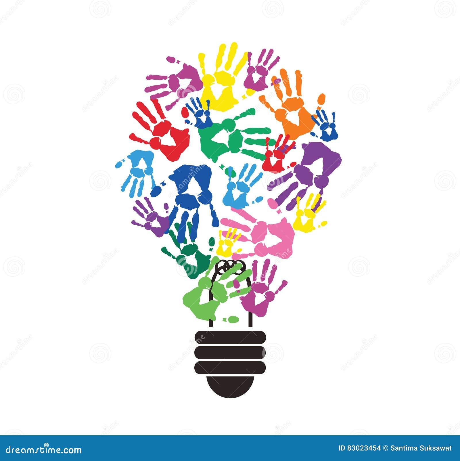 Colorful handprint in lightbulb shape symbol of thinking concept colorful handprint in lightbulb shape symbol of thinking concept illustration lamp biocorpaavc
