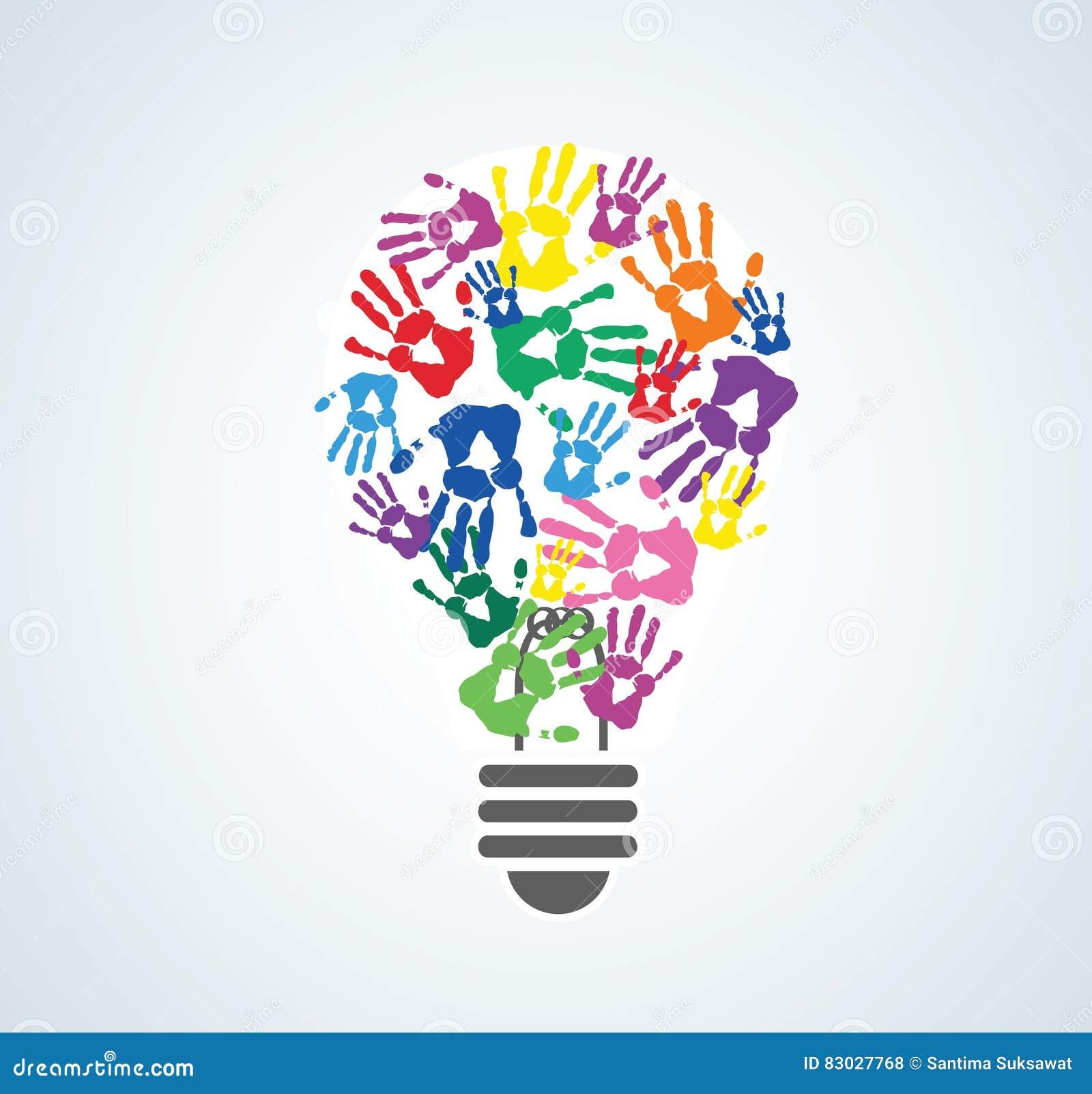Colorful handprint in lightbulb shape symbol of thinking concept colorful handprint in lightbulb shape symbol of thinking concept biocorpaavc