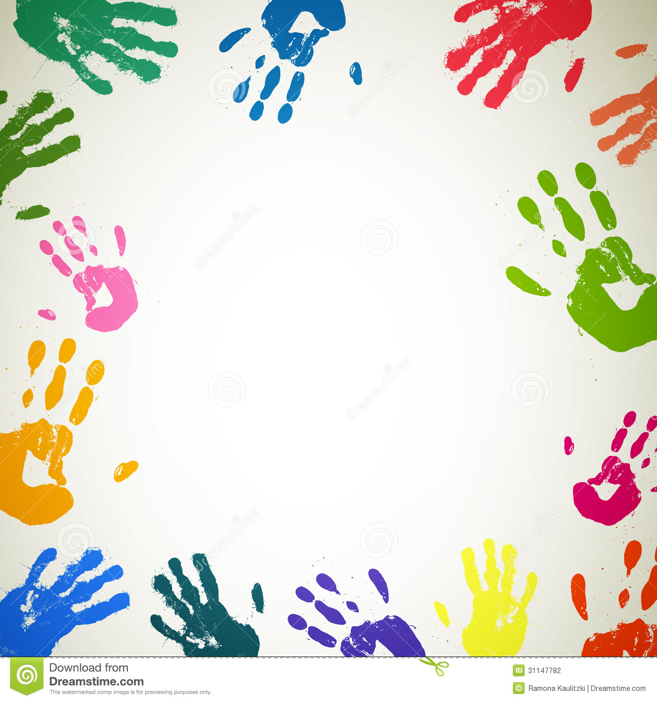 Illustration of an abstract background with colorful handprints