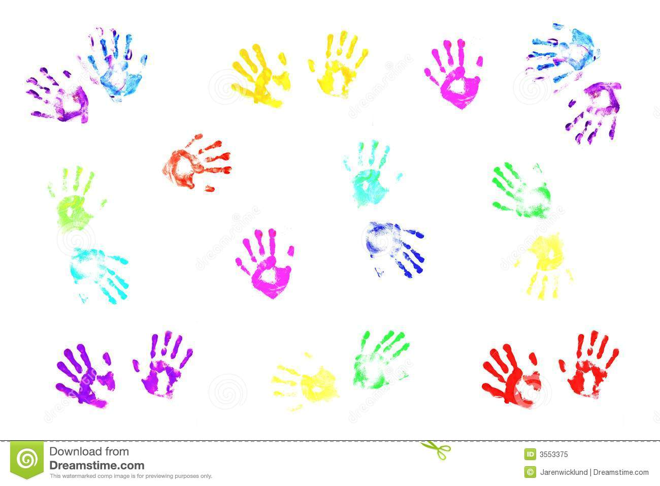 Colorful Handprints By Kids Illustration 3553375 - Megapixl
