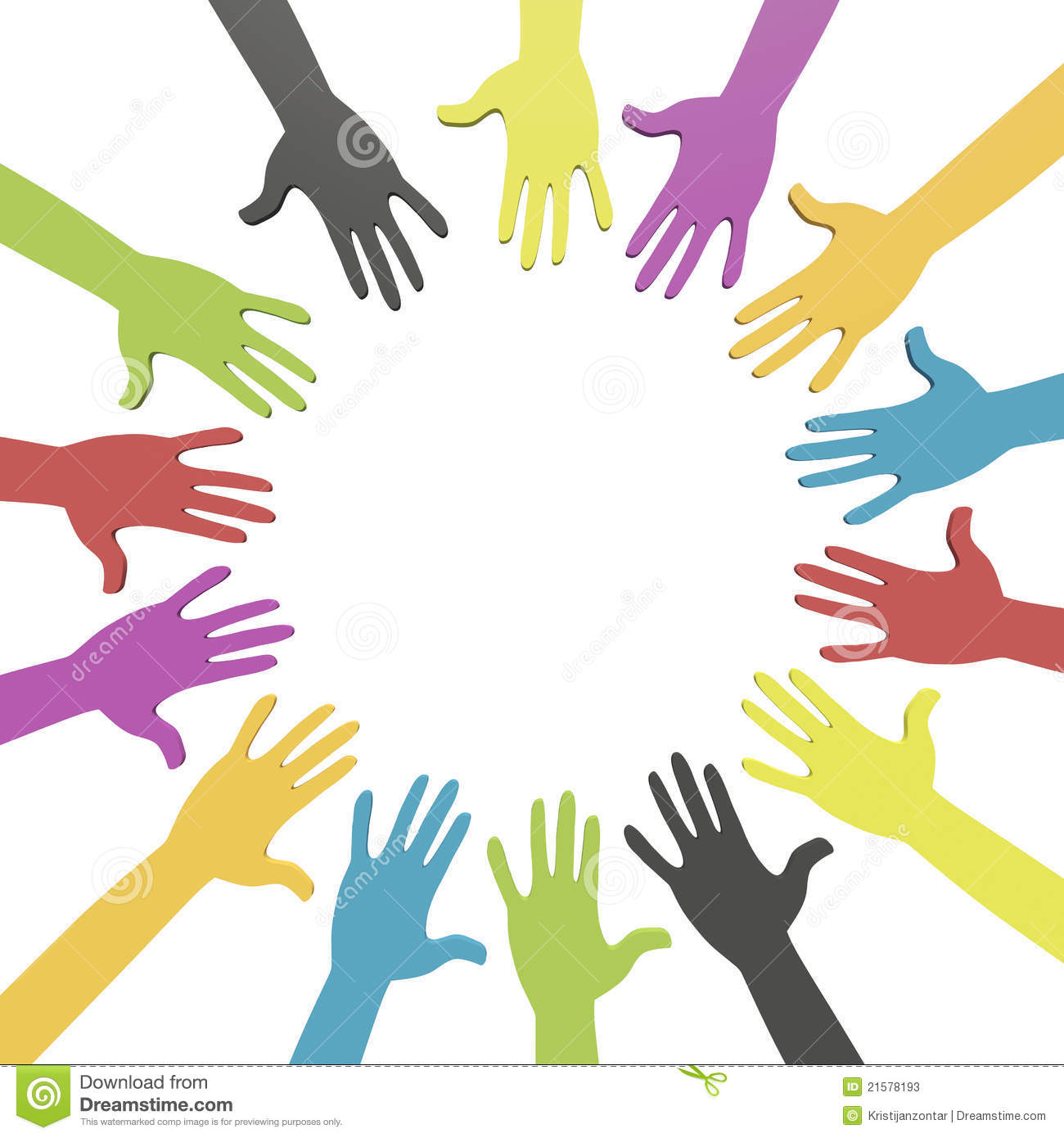 colorful hands in a circle with clipping path stock illustration