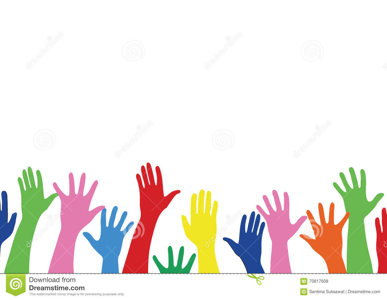 Colorful Hands Up And Background Art Vector Stock Vector