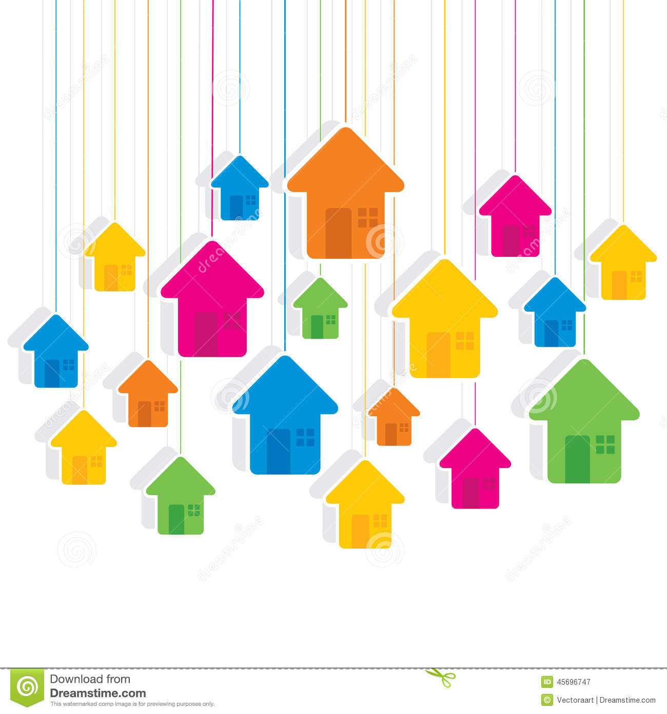 Colorful hanging house pattern background design stock for House pattern