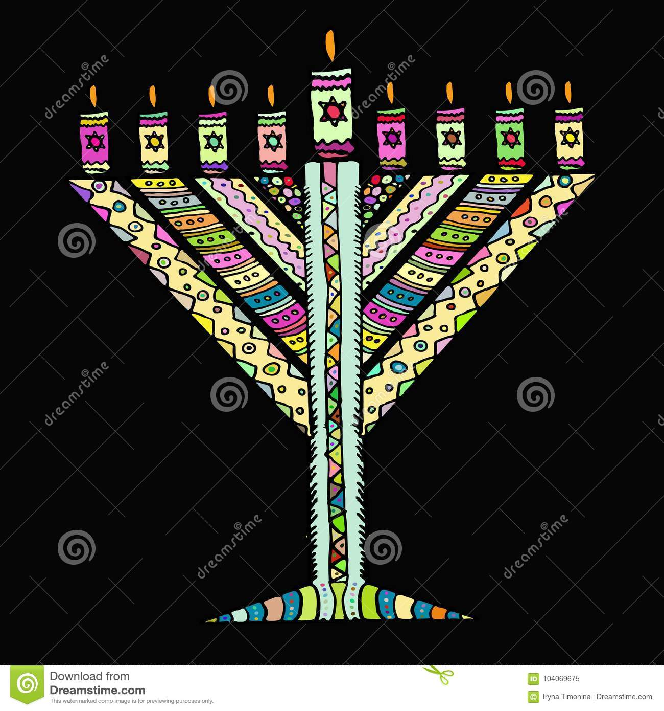 Colorful Hanukkah In The Style Of Doodle Triangular Chanukah Chabad