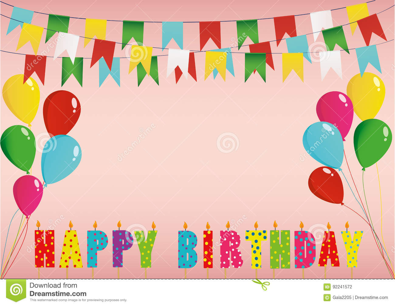 Colorful Happy Birthday Candles. Rainbow Garland Of Flags. Letter ...