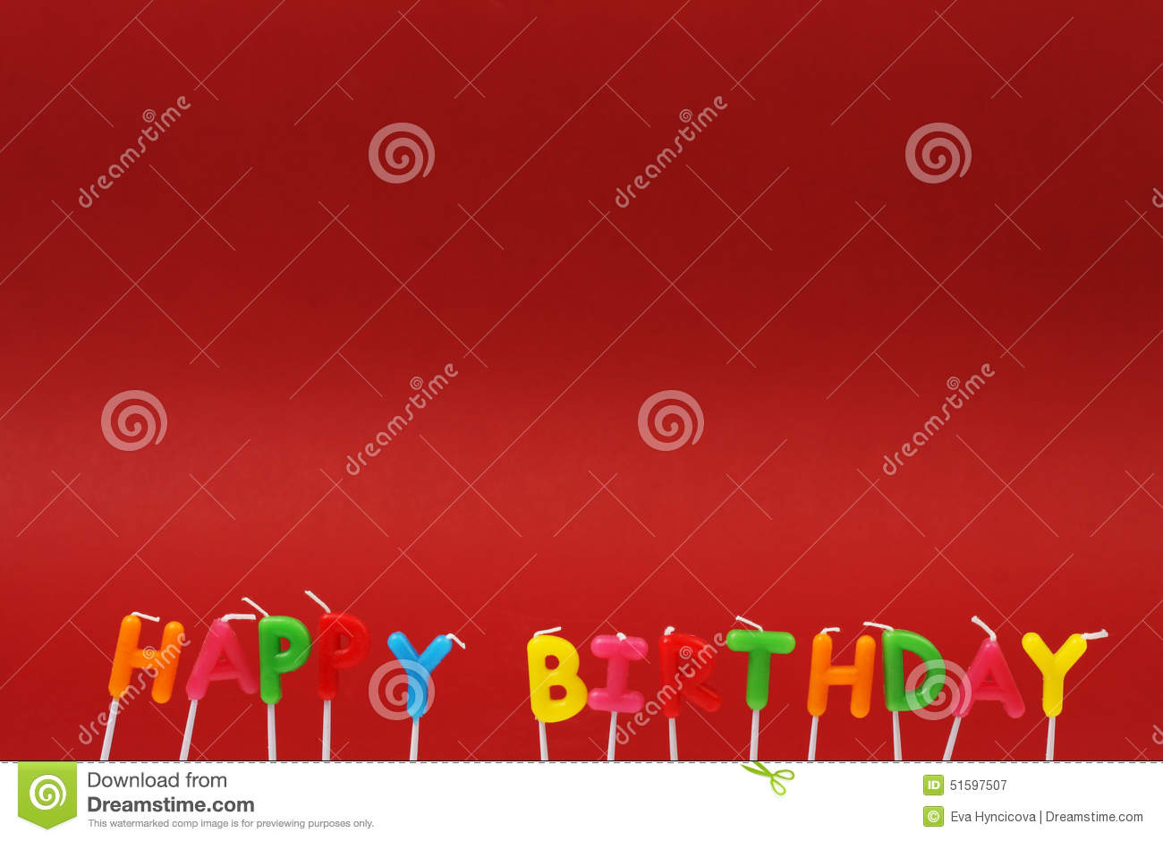 Colorful Happy Birthday Candles On Red Background Stock