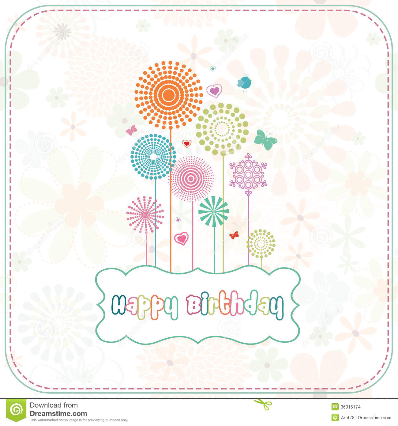 Colorful Happy Birthday Card Stock Images Image 36316174